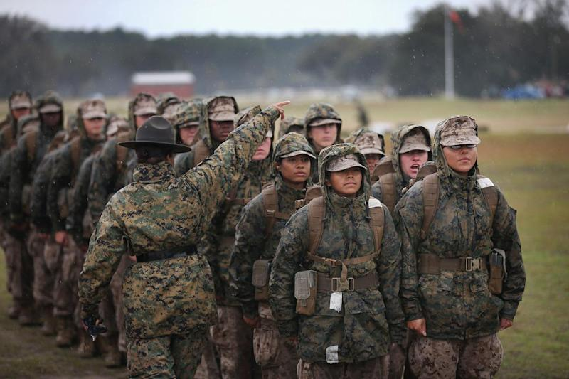 Female Marine attend boot camp at MCRD Parris Island, South Carolina on February 25, 2013: Scott Olson/Getty
