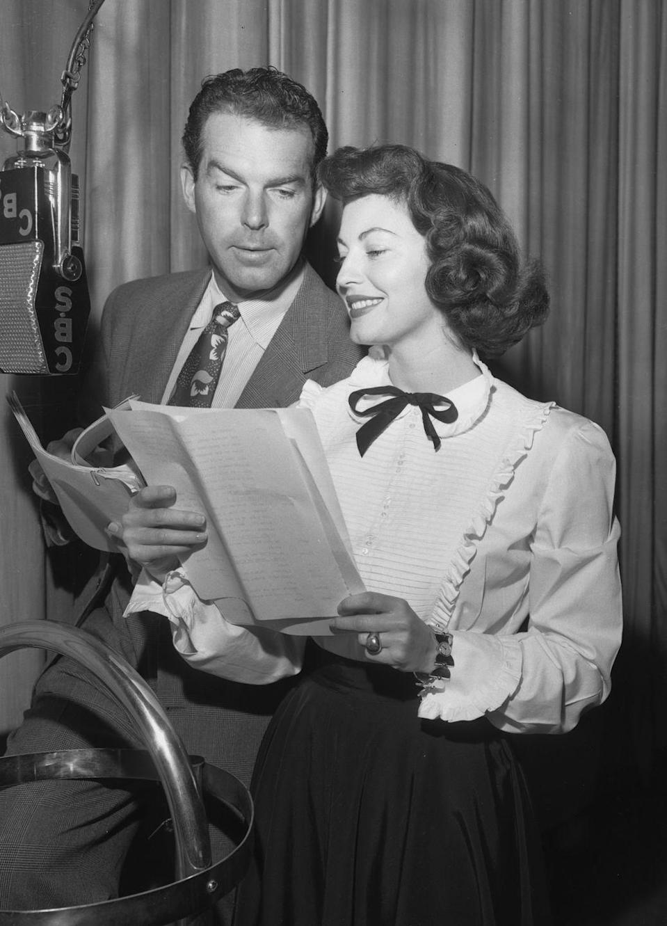 <p>Gardener, who was now working steadily and starred in <em>Singapore</em> and <em>The Huckster</em> in 1947, and actor Fred MacMurray appear together on the CBS program <em>Lux Radio Theater</em>, with Gardner dressed in a ruffled blouse, complete with a charming bowtie neck ribbon.</p>
