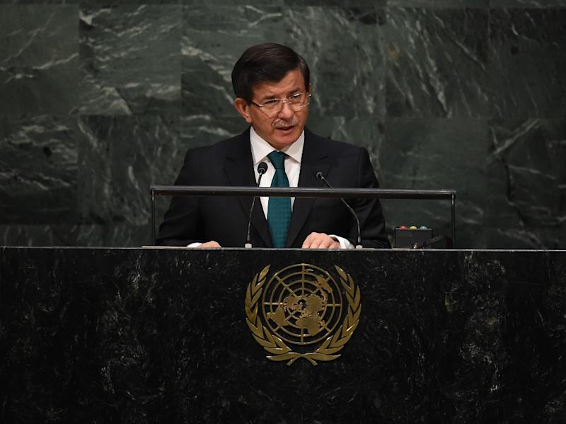 """""""Our rules of engagement are clear whoever violates our air space,"""" Turkish Prime Minister Ahmet Davutoglu told Haber-Turk television (AFP Photo/Timothy A. Clary)"""