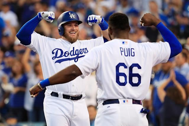 The Atlanta Braves had no answer for Max Muncy and the rest of the Los Angeles Dodgers in Game 1 of the NLDS. (Getty Images)