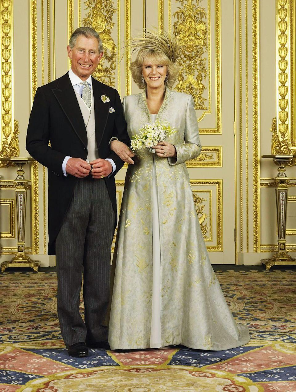 <p>After the civil ceremony, Camilla had a full wardrobe change. Her second look featured an unusual gold headpiece, which resembled stalks of wheat.</p>