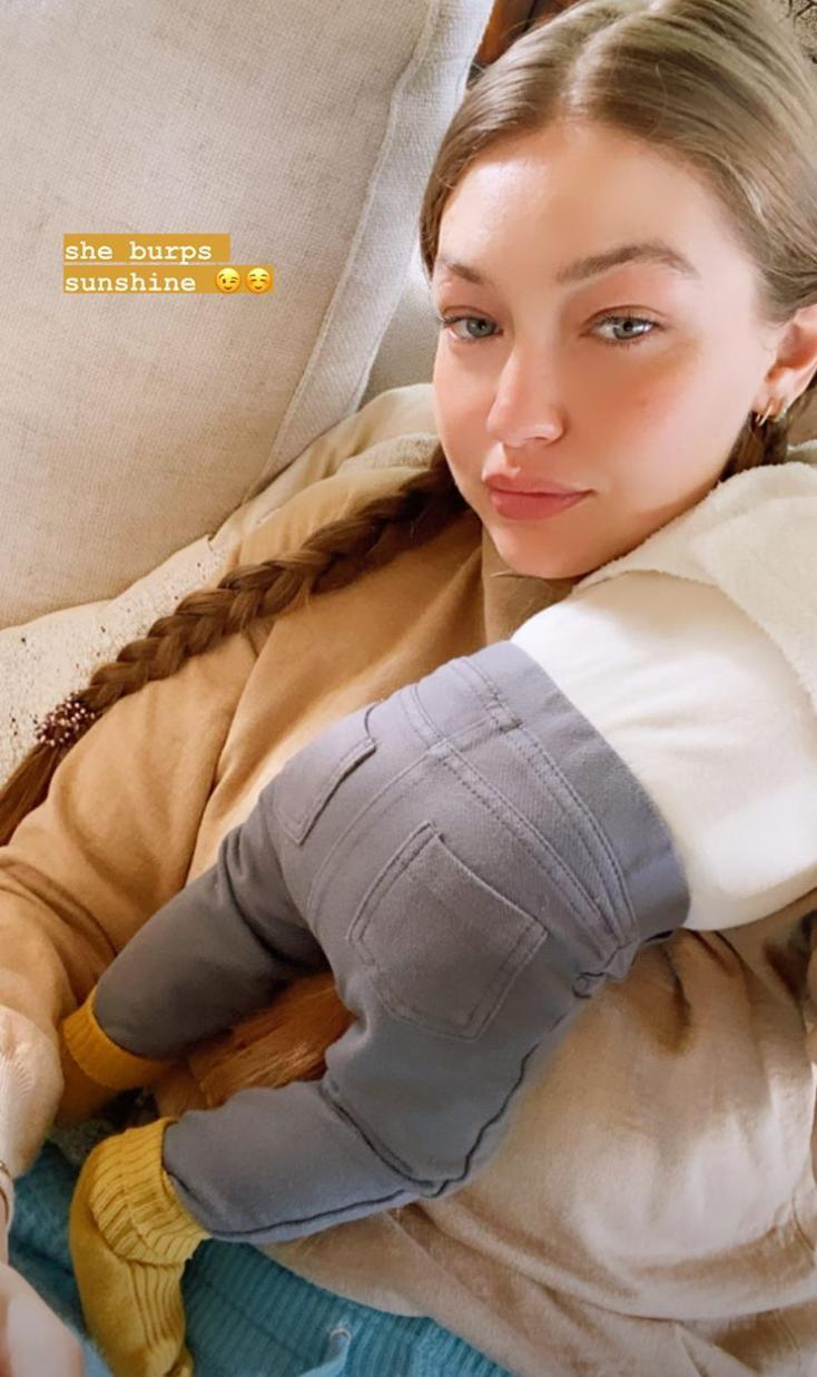 """<p>The new mom, who did not share photos of her baby bump until the month before giving birth, has taken the same approach to privacy with her daughter: She has not shared any photos of her little girl's face. </p> <p>In one photo, taken in November 2020, Hadid <a href=""""https://people.com/parents/gigi-hadid-adorable-burping-selfie-with-newborn-daughter/"""" rel=""""nofollow noopener"""" target=""""_blank"""" data-ylk=""""slk:shared an adorable burping selfie"""" class=""""link rapid-noclick-resp"""">shared an adorable burping selfie</a> with Khai on her Instagram Stories, joking that her daughter """"burps sunshine."""" </p>"""