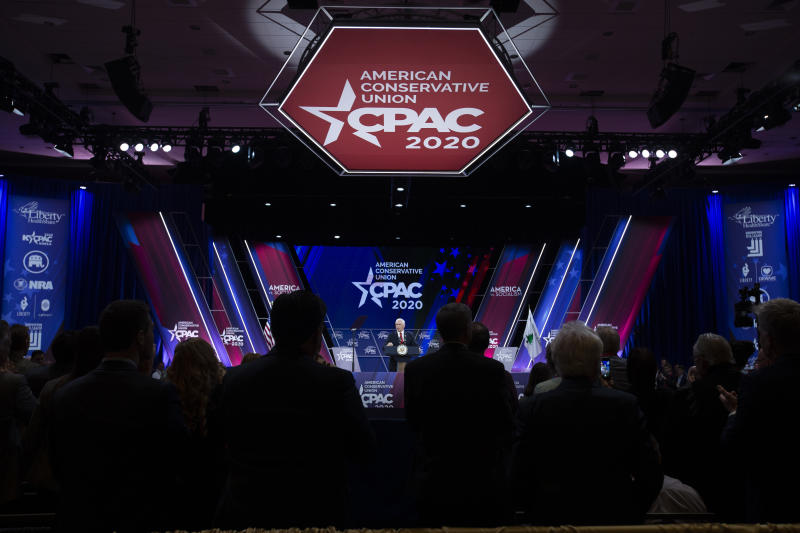 Vice President Mike Pence speaks during the Conservative Political Action Conference, CPAC 2020, at the National Harbor, in Oxon Hill, Md., Thursday, Feb. 27, 2020. (AP Photo/Jose Luis Magana)