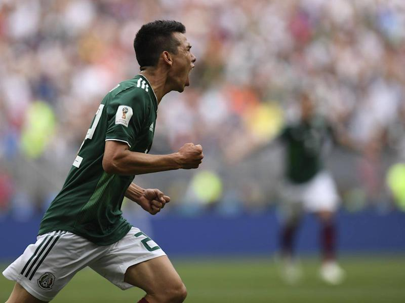 Lozano wheels away in delight (Getty)