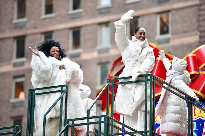 Diana Ross was joined by her family for the Macy's Thanksgiving Day Parade. (James Devaney via Getty Images)