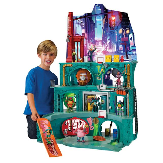 <p>Measuring in at 43-inches tall, this four-level play set has an upstairs <em>and </em>a downstairs, with a cityscape resting on top of three levels of sewer action. (Photo: Playmates) </p>