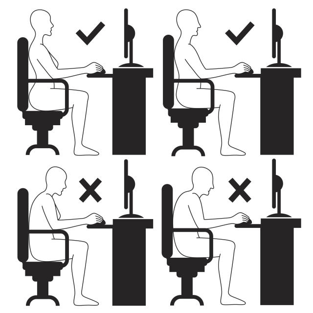 Vector illustration of Correct and incorrect sitting posture at computer.