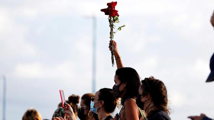 People close the Teodoro Moscoso bridge during a protest against the death of Keishla Rodriguez, who was found lifeless in a lagoon near San Juan on 01 May, in San Juan, Puerto Rico, 02 May 2021