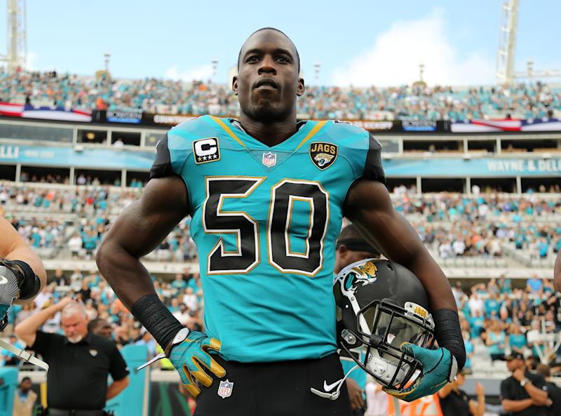 JACKSONVILLE, FL - NOVEMBER 05: Telvin Smith #50 of ther Jacksonville Jaguars waits in the bench area prior to the start of their game against the Cincinnati Bengals at EverBank Field on November 5, 2017 in Jacksonville, Florida. (Photo by Logan Bowles/Getty Images)