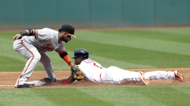 Cleveland Indians' Greg Allen, right, steals second base as Baltimore Orioles' Jonathan Villar is late on the tag in the first inning of a baseball game, Sunday, Aug. 19, 2018, in Cleveland. (AP Photo/Tony Dejak)