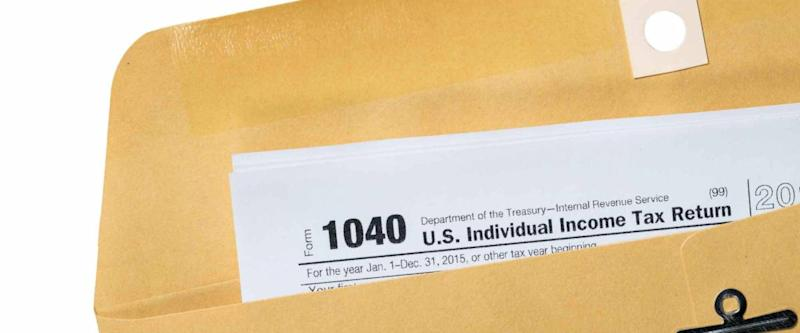 Tax return printed and placed in envelope
