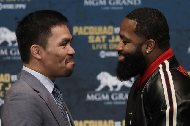 Even at age 40, Manny Pacquiao presents a significant challenge for Adrien Broner, who is still lacking a signature win in his tumultuous career. (AP Photo)