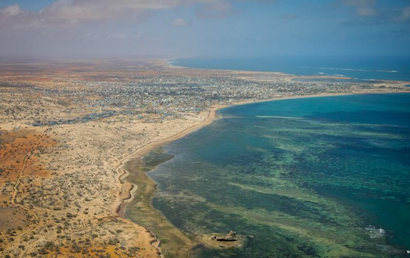 A photograph released by the African Union-United Nations Information Support Team shows an aerial view of the Indian Ocean off the southern Somali port city of Kismayo on Ocotber 4, 2012