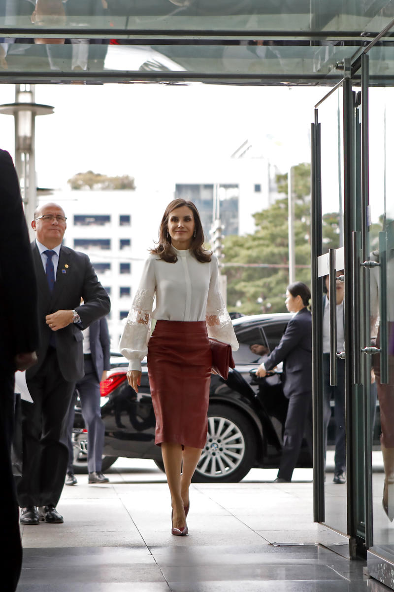Queen Letizia of Spain wore the same skirt in South Korea on October 24, 2019. [Photo: Getty]