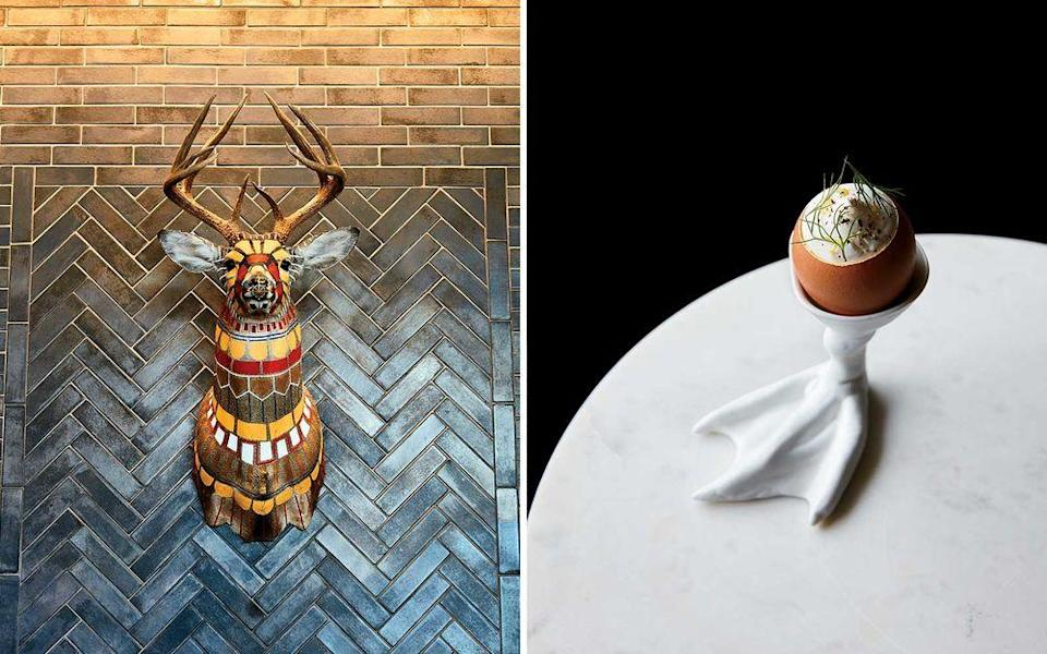 From left: Lobby décor at the Hewing Hotel, in Minneapolis's North Loop; sturgeon custard in an eggshell at Grand Café, in South Minneapolis.