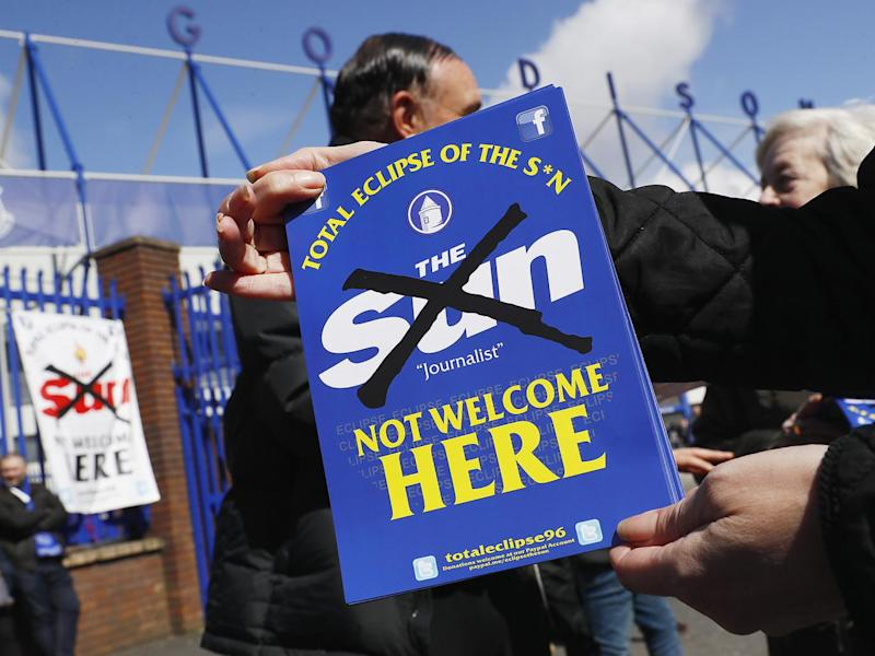 Protests against The Sun newspaper were held before the match (Reuters)