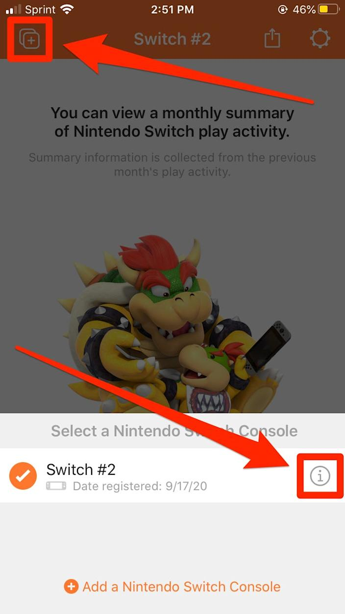 "Tap the ""i"" next to the Switch you want to unregister. <p class=""copyright"">Melanie Weir/Business Insider</p>"