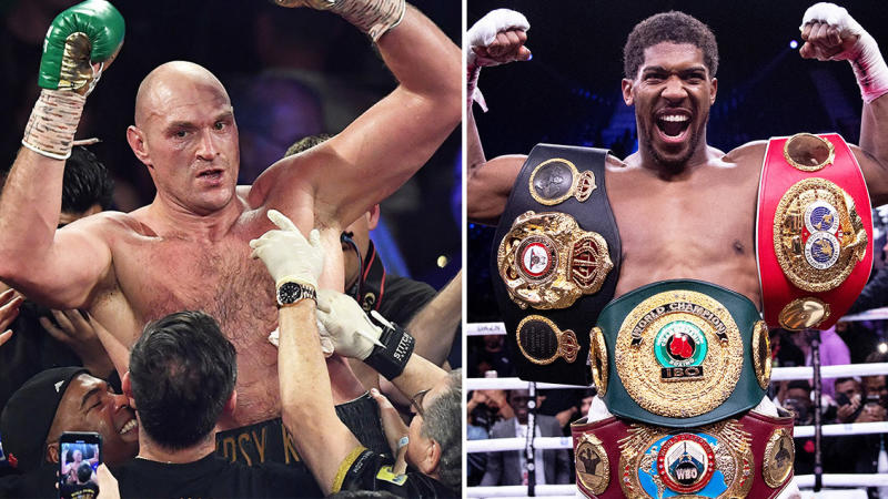 Tyson Fury (pictured left) celebrating and being picked up after his victory over Deontay Wilder and Anthony Joshua (pictured right) with his belts after defeating Andy Ruiz.