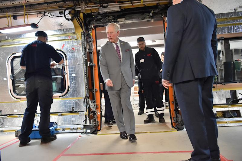 The Prince of Wales onboard a train being constructed during a visit to the CAF train factory in Newport, Wales.
