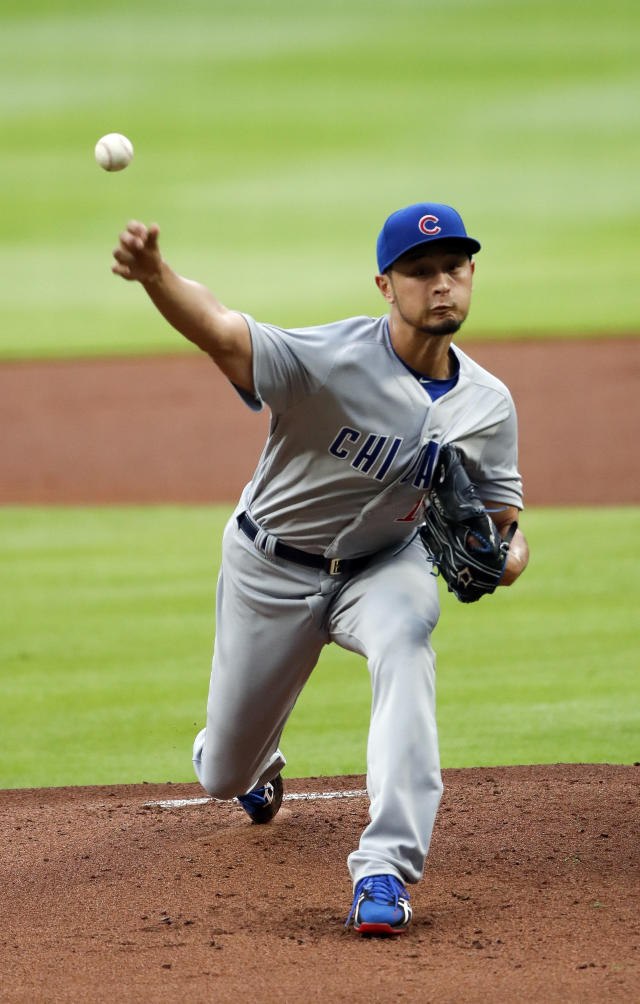 Chicago Cubs starting pitcher Yu Darvish (11) works in the first inning of a baseball game against the Atlanta Braves Tuesday, May 15, 2018, in Atlanta. (AP Photo/John Bazemore)