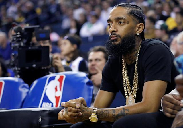 Rapper Nipsey Hussle died on Sunday after being shot on a Los Angeles street. (AP)