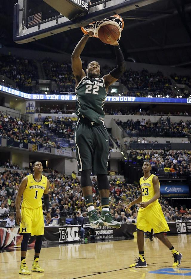 Michigan State guard/forward Branden Dawson dunks in the second half of an NCAA college basketball game against Michigan in the championship of the Big Ten Conference tournament Sunday, March 16, 2014, in Indianapolis. Michigan State won 69-55. (AP Photo/AJ Mast)