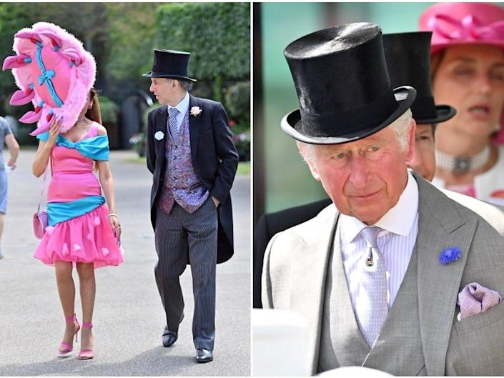 Attendees dressing up for Royal Ascot 2021 (Left) Prince Charles, Prince of Wales attends Royal Ascot (RIght).