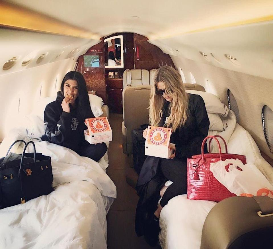 """<p>The Kardashians do cheat day like nobody else can. And by that, we mean on a private jet eating Popeyes. And Popeyes isn't the only fast food joint the Kardashians love. Khloe indulges in McDonald's on her cheat days, while Kourtney said her last meal would be """"McDonald's french fries, and a McDonald's vanilla milkshake,"""" <a href=""""http://www.thenewpotato.com/2016/05/02/kourtney-kardashian-2016/"""" rel=""""nofollow noopener"""" target=""""_blank"""" data-ylk=""""slk:to the New Potato."""" class=""""link rapid-noclick-resp"""">to the New Potato.</a> </p>"""