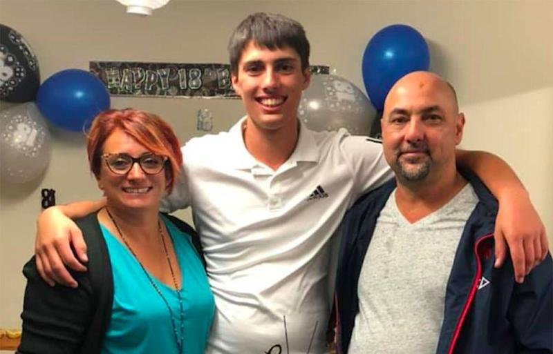 Teen apprentice Christopher Cassaniti with his parents Patrizia and Rob Cassaniti. Source: Facebook