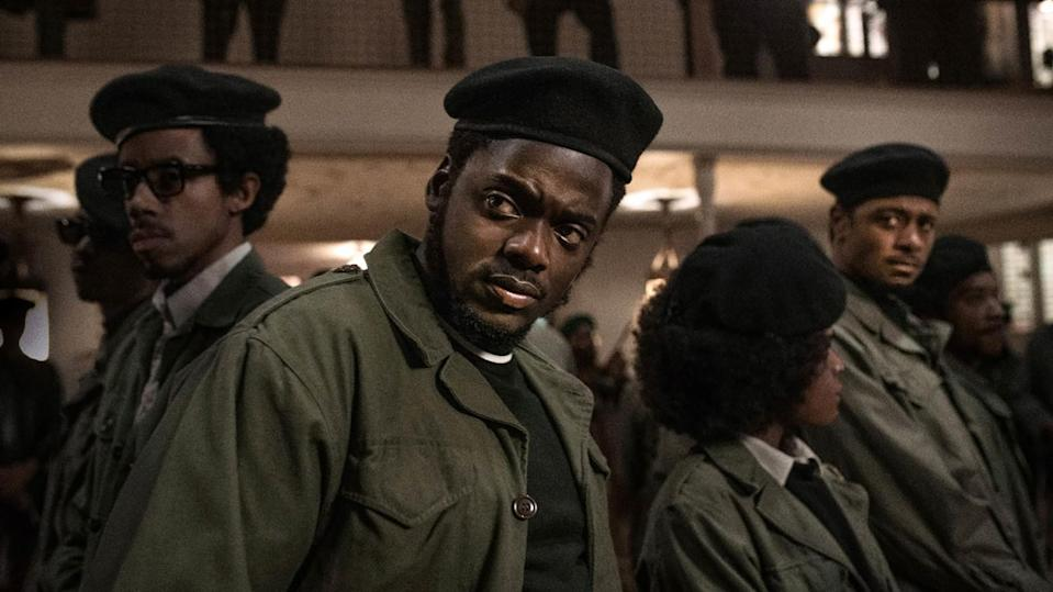 """Darrel Britt-Gibson, Daniel Kaluuya, Dominique Thorne and Lakeith Stanfield in the movie """"Judas and the Black Messiah."""""""