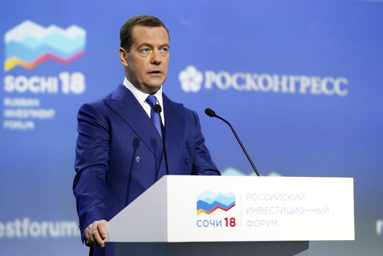 Russian Prime Minister Dmitry Medvedev addresses a session of the Russian Investment Forum in the Black Sea resort of Sochi, Russia February 15, 2018. Sputnik/Dmitry Astakhov/Pool via REUTERS ATTENTION EDITORS - THIS IMAGE WAS PROVIDED BY A THIRD PARTY.