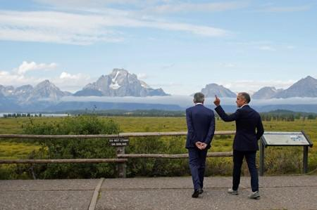 """Fed Chair Jerome Powell and Governor of the Bank of England, Mark Carney, during the three-day  """"Challenges for Monetary Policy"""" conference in Jackson Hole"""