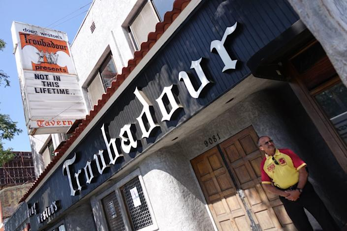"""The Troubadour is just one of the many L.A. nightclubs facing extinction during the COVID-19 pandemic. <span class=""""copyright"""">(Mike Nelson / EPA)</span>"""