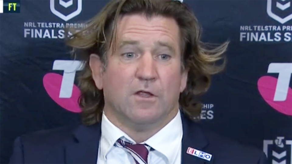 Manly coach Des Hasler bristled at several questions from reporters despite the Sea Eagles thumping Sydney 42-6 in the NRL semi-final on Friday night. Pictures: Fox League