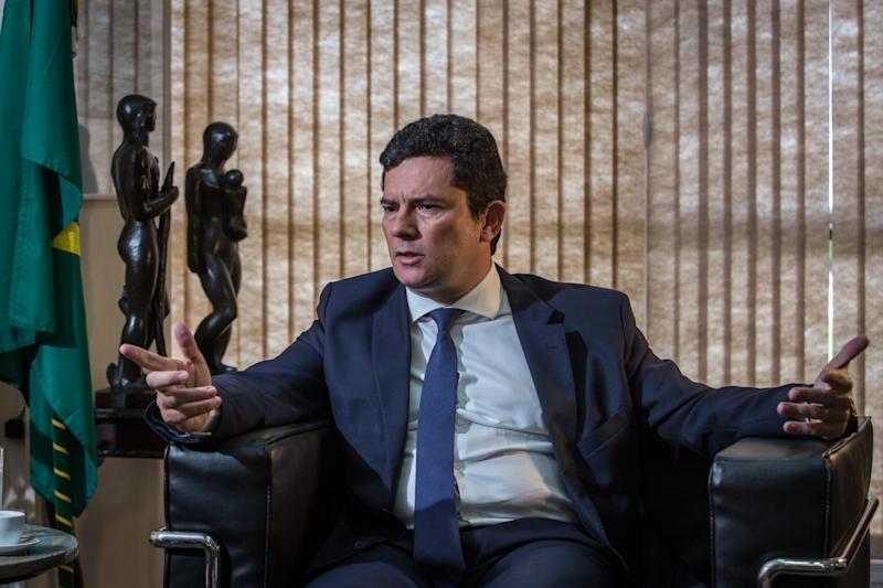 BRASILIA, BRAZIL - MARCH 30: Brazilian Justice Minister Sergio Moro speaks during an interview on March 31, 2020 in Brasilia, Brazil. Sergio Moro, said today April 23, 2020, that he will leave the government if the President Jair Bolsonaro goes through with his decision to change the Federal Police Chief Mauricio Valeixo. (Photo by Andre Coelho/Getty Images)