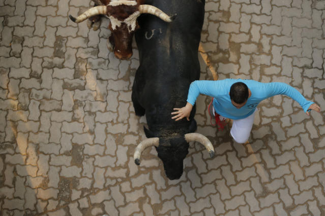 An 'El Pilar' fighting bull runs during the running of the bulls of the San Fermin festival, in Pamplona, Spain, Friday, July 12, 2013. Revelers from around the world arrive to Pamplona every year to take part on some of the eight days of the running of the bulls. (AP Photo/Daniel Ochoa de Olza)