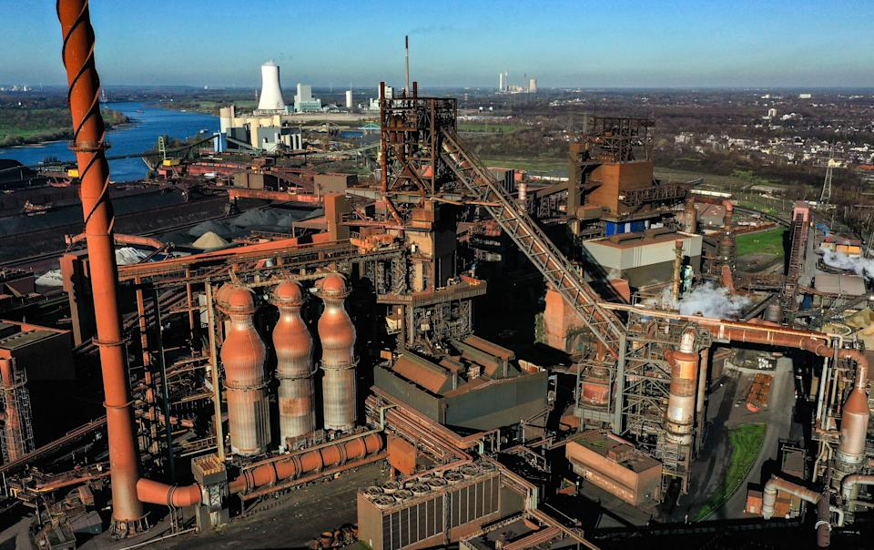 This aerial view shows the blast furnace Schwelgern at the plant of German industrial conglomerate ThyssenKrupp in Duisburg, western Germany, on November 18, 2020. - ThyssenKrupp will broadcast the annual press conference live via audio streaming on November 19, 2020 with presentations by CEO Martina Merz and CFO Klaus Keysberg. (Photo by Ina FASSBENDER / AFP) (Photo by INA FASSBENDER/AFP via Getty Images)