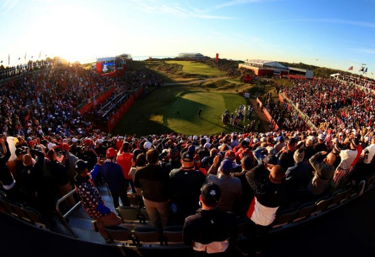American Collin Morikawa tees off before an impressive crowd at Whistling Straits in the first session of the 43rd Ryder Cup (AFP/Mike Ehrmann)