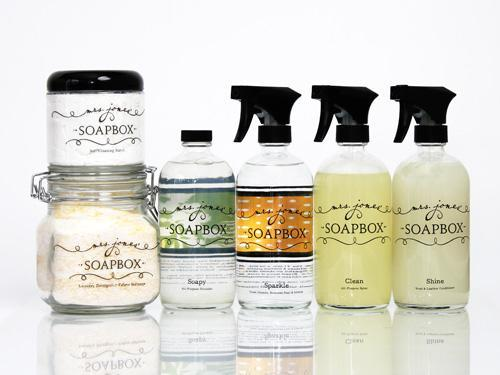 """<div class=""""caption-credit""""> Photo by: Courtesy of Mrs. Jones' Soapbox</div><div class=""""caption-title"""">Mrs. Jones' Soapbox</div>Jamie Jones launched her eco-friendly brand-all-purpose disinfecting spray, laundry soap, wood and furniture polish, soft scrub powder, and glass cleaner-in 2008 and spent a year testing the products by cleaning friends' homes. She even packages liquid refills in sterilized recycled water bottles. <br> <br> <i>($8.99 each, mrsjonessoapbox.com) <br></i> <br> <b>Plus: <br> <a href=""""http://www.countryliving.com/homes/how-to-clean-white?link=rel&dom=yah_life&src=syn&con=blog_countryliving&mag=clg"""" rel=""""nofollow noopener"""" target=""""_blank"""" data-ylk=""""slk:How to Clean Everything White »"""" class=""""link rapid-noclick-resp"""">How to Clean Everything White »</a> <br> <a href=""""http://www.countryliving.com/antiques/ways-to-declutter-antiques?link=rel&dom=yah_life&src=syn&con=blog_countryliving&mag=clg"""" rel=""""nofollow noopener"""" target=""""_blank"""" data-ylk=""""slk:7 Ways to Declutter Your Antiques Pile »"""" class=""""link rapid-noclick-resp"""">7 Ways to Declutter Your Antiques Pile »</a></b>"""