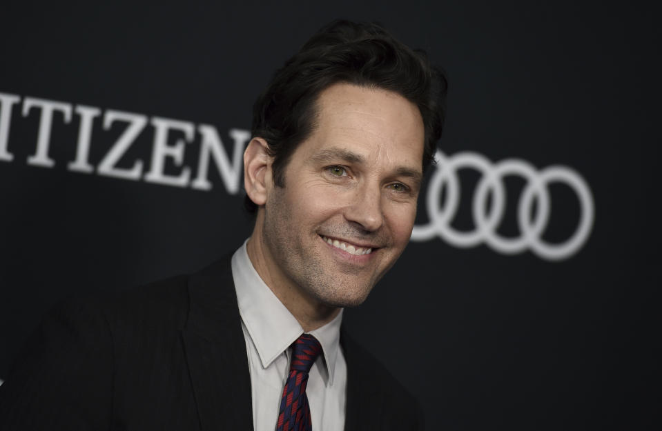 """Paul Rudd arrives at the premiere of """"Avengers: Endgame"""" at the Los Angeles Convention Center on Monday, April 22, 2019. (Photo by Jordan Strauss/Invision/AP)"""