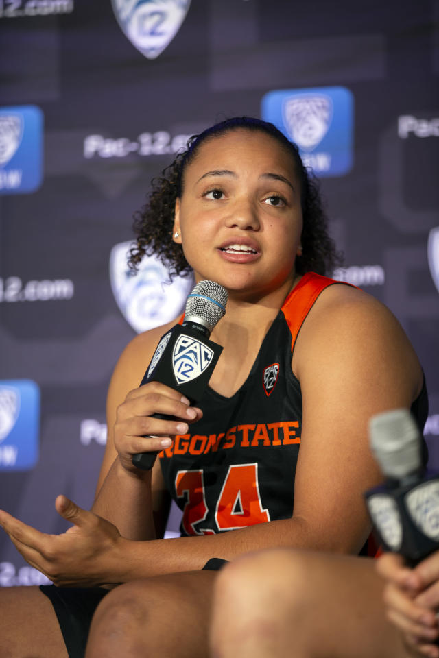 Oregon State's Destiny Slocum speaks to reporters during the Pac-12 Conference women's NCAA college basketball media day, Monday, Oct. 7, 2019, in San Francisco. (AP Photo/D. Ross Cameron)