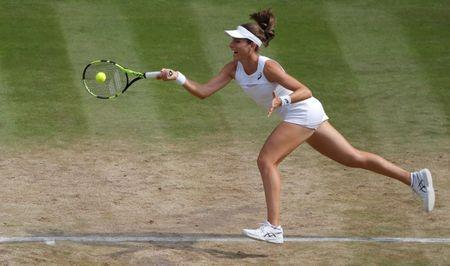 Tennis - Wimbledon - London, Britain - July 13, 2017 Great Britain's Johanna Konta in action during her semi final match against Venus Williams of the U.S. REUTERS/Alastair Grant/Pool