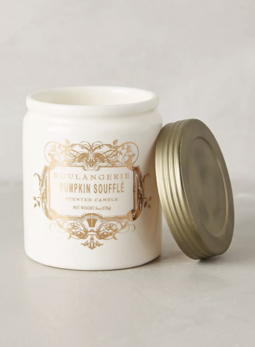 Pumpkin Souffle Boulangerie Jar Candle in white container with gold lid