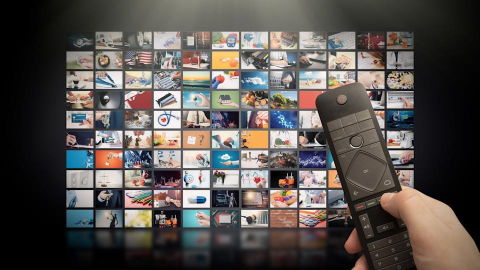 Television streaming video concept. Media TV video on demand technology. Video service with internet streaming multimedia shows, series. Digital collage wall of screen abstract composition (Photo: simpson33 via Getty Images)