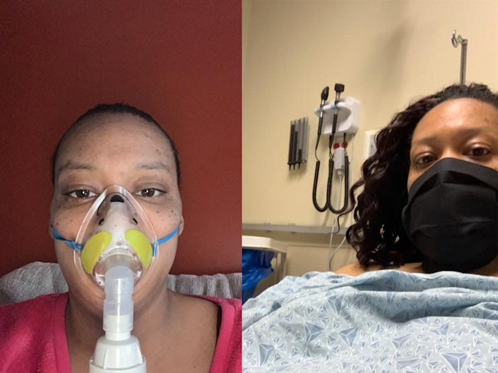 Felecia Jester with a nebulizer (left) and in the emergency room (right).