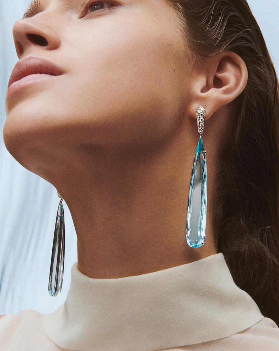 Bleu Infini earrings set with 121.84ct pear-cut aquamarines and paved with diamonds