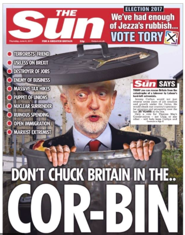 "The Sun's cover on election day 2017 on which Jeremy Corbyn was depicted as ""rubbish"" in a ""Cor-bin"". (The Sun)"