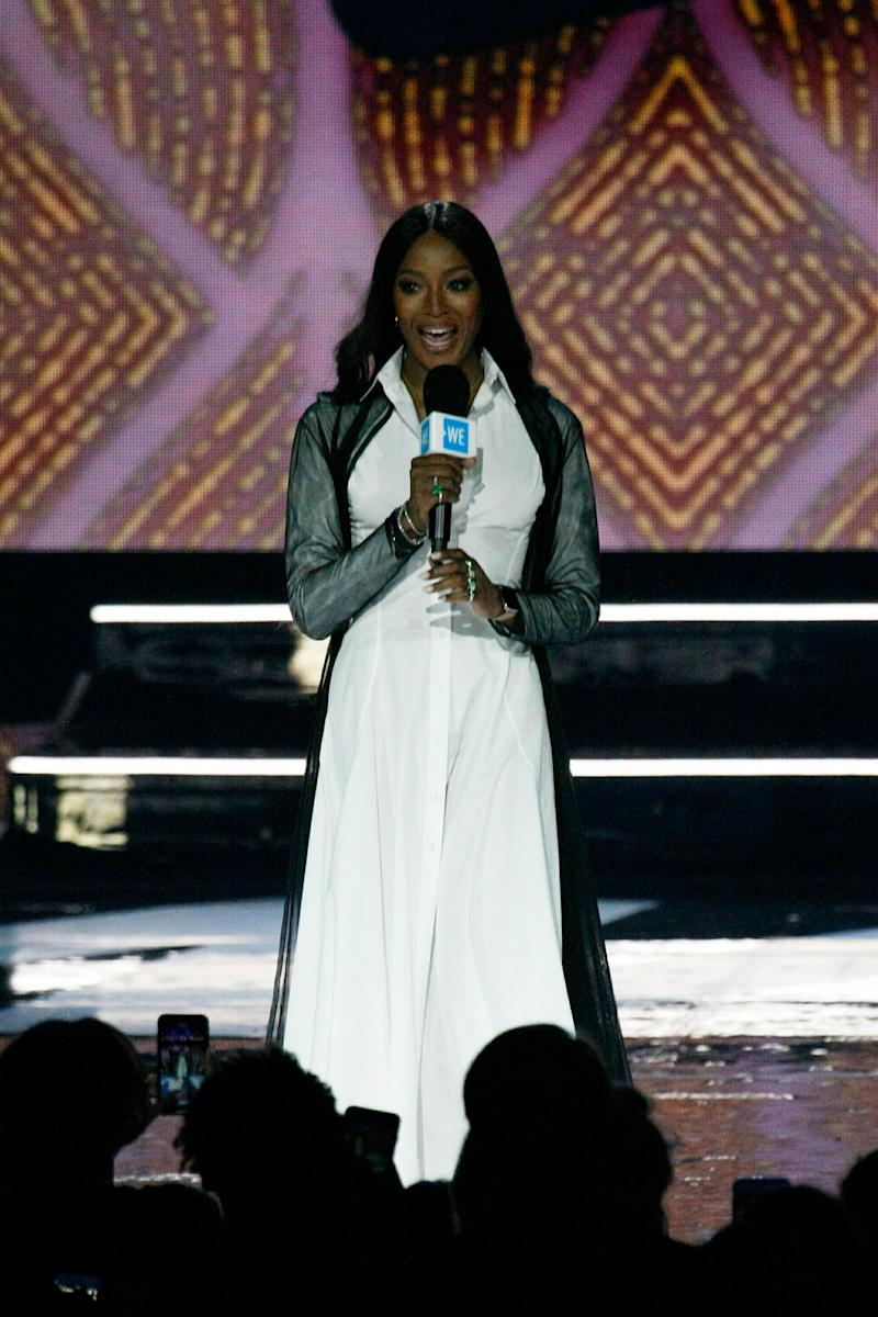 Naomi Campbell takes the stage at We Day California. (Photo: CraSH/imageSPACE/MediaPunch /IPX)