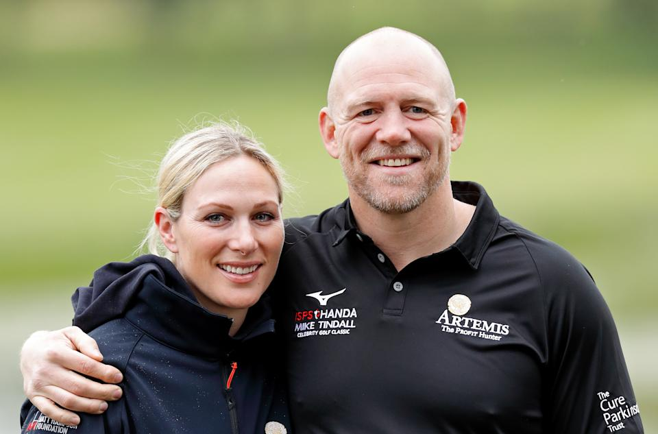 Zara Tindall and Mike Tindall attend the ISPS Handa Mike Tindall Celebrity Golf Classic at The Belfry on May 17, 2019 in Sutton Coldfield, England. (