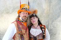 <p>Cosplayers dressed in steampunk outfits at Comic-Con International on July 20 in San Diego. (Photo: Mario Tama/Getty Images) </p>